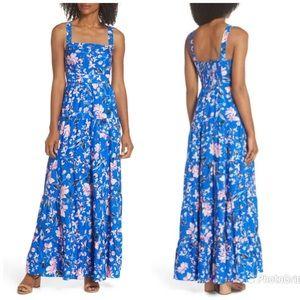 ELIZA J Floral Maxi Dress Blue Pink Tiered Skirt